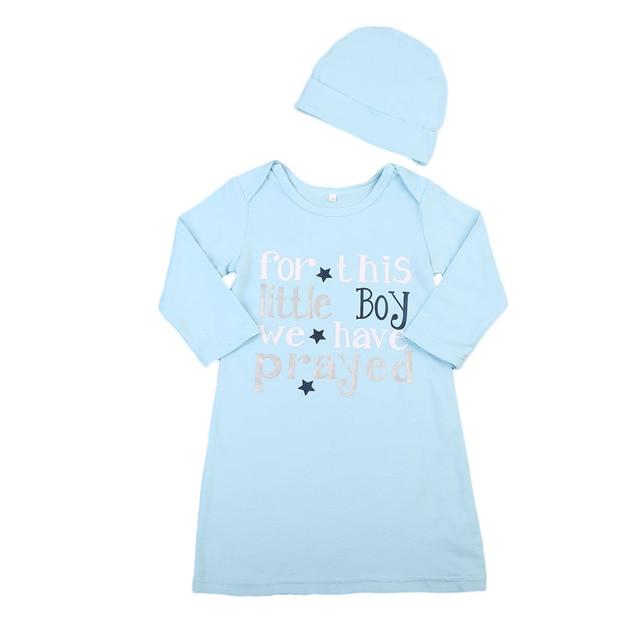 Newborn Infant Baby Boys Cotton Sleeping Bags Letters Print Long Sleeve Blue Wrap Blankets Hat