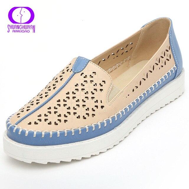 Alta calidad pisos Casual Slip en mocasines mujeres zapatos de cuero cómodos zapatos planos inferiores suaves Vintage estilo mujer calzado