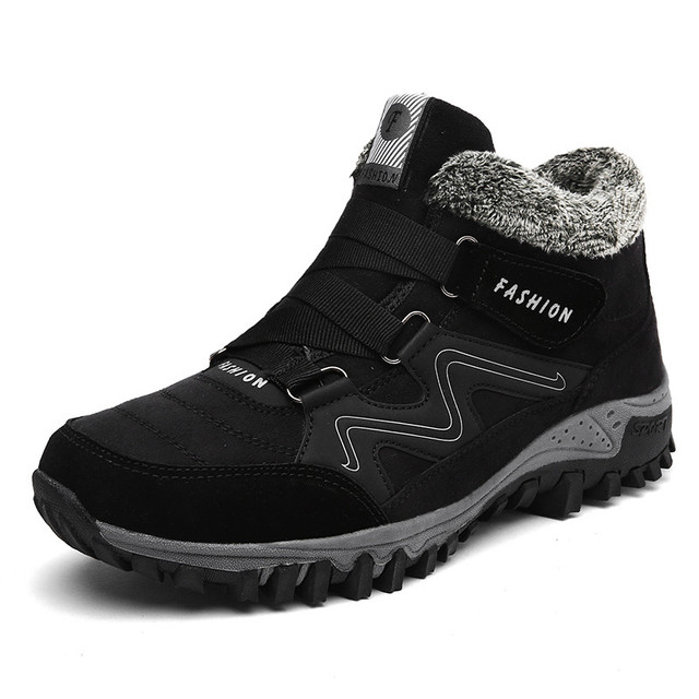 Men Boots Winter With Fur 2018 Warm Snow Boots Men Winter Boots Work Shoes Footwear Sneakers Rubber Ankle Hiking Shoes 35-47