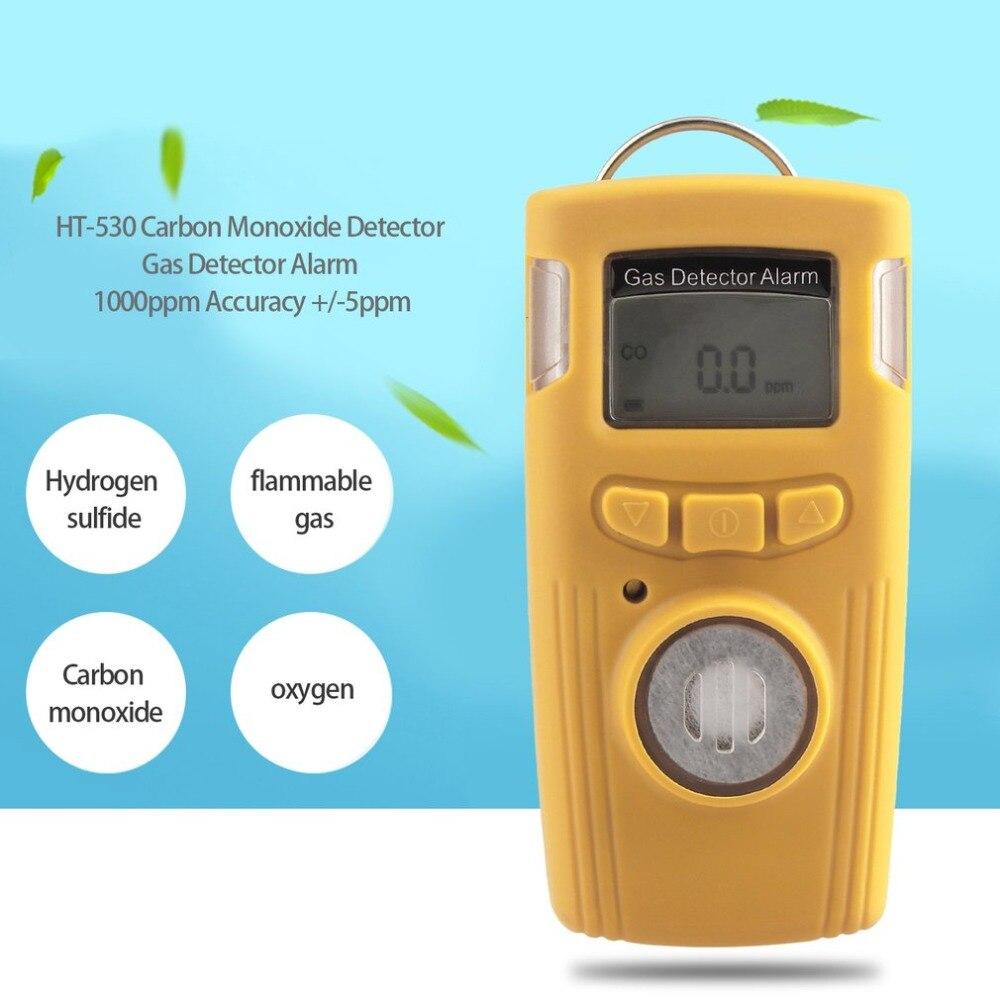 Portable Mini HT-530 Détecteur De Monoxyde De Carbone Détecteur de Gaz D'alarme LCD Électrique CO Gaz Testeur 1000ppm Précision +/-5ppm VENTES CHAUDES