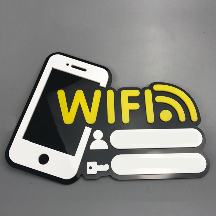 Aqumotic Free Wifi Sticker 1pc Acrylic Password Sign Account Number Chalkboard Welcome Sign Sticker for Wall Cafe Bar Board ...