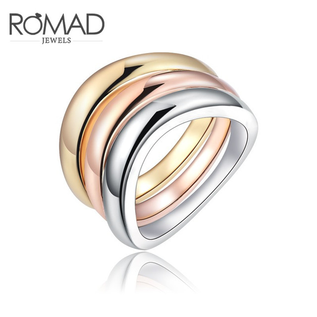 Romad 3 Pcs/Sets Gold Color Titanium Stainless Steel Rings For Women Bride Weddi