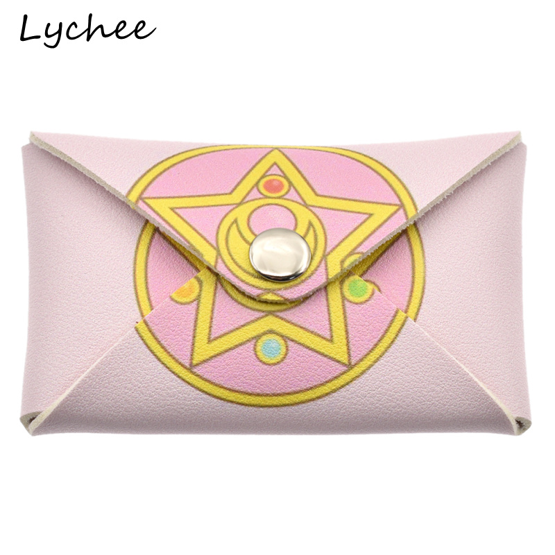 Focal20 Cute Anime Sailor Moon Star Prism Pink Color Microfiber Mini Wallet Key Bag Women Girls Coin Purse Pouch