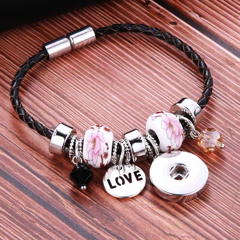 New Snap Button Jewelry Genuine Leather 18mm Snap Button Bracelet Punk Leather Ceramic Bracelet Armband Snaps Jewelry snap button jewelry