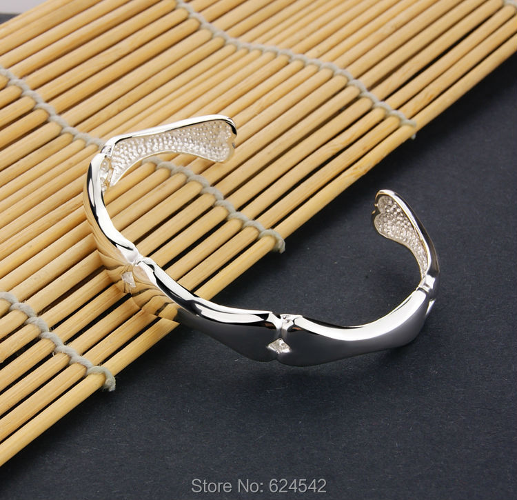 925 sterling silver bracelet personality contracted shiny side bones bangle .Jewelry fashion for men and women accessories.