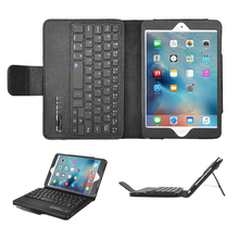 Promotion ABS Wireless Bluetooth Keyboard + PU Leather Cover Case Tablet Stand For iPad mini 2/3/4 with USB Charging Cable