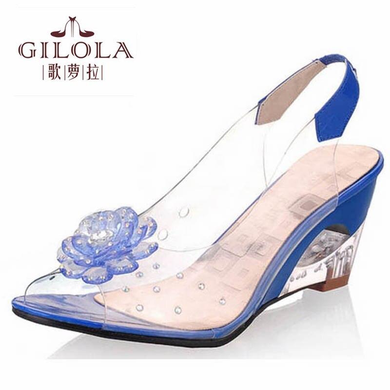 new size 34 43 platform lady open toe wedge high heels. Black Bedroom Furniture Sets. Home Design Ideas