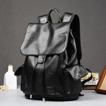 ETONWEAG New 2017 women brands leather black string preppy style backpacks laptop school bags vintage travel document bag