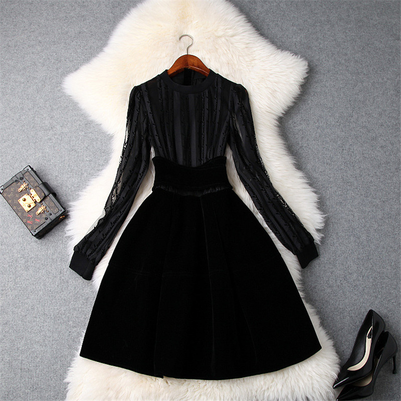 New Arrival Woman Winter Dress Long Sleeve Vestidos 2018 Fashion Autumn Designers Sexy Black Empire Short