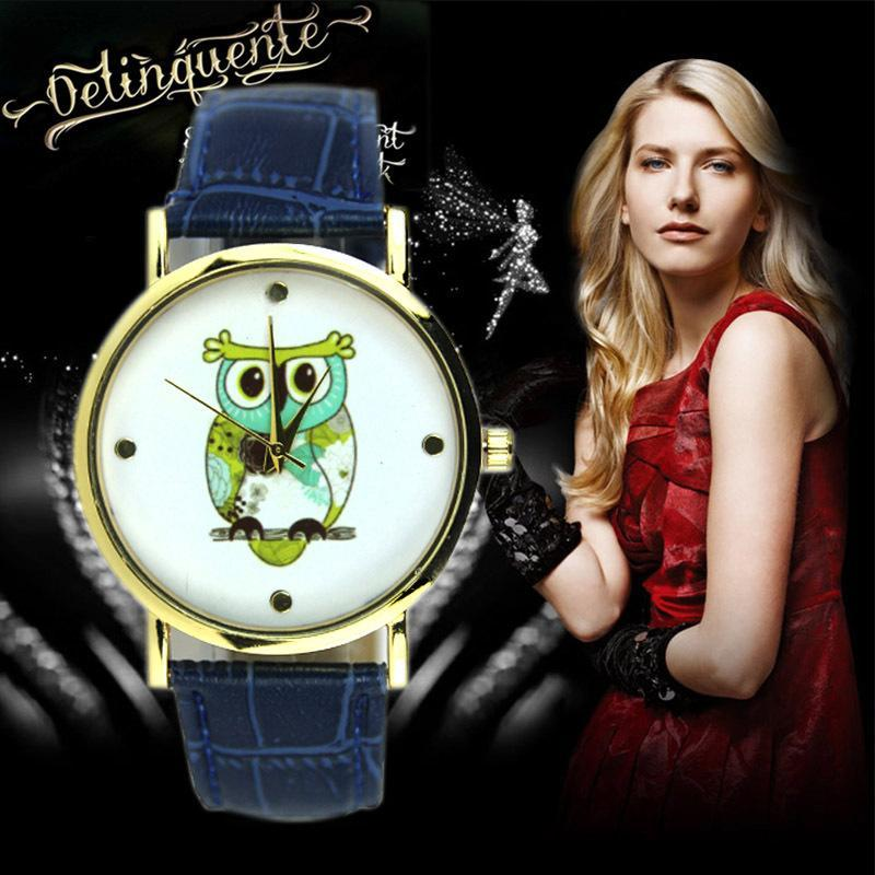 New Fashion Cartoon Casual Wrist Watch Quartz Watches For Women Mens Gift Owl Style Dres ...