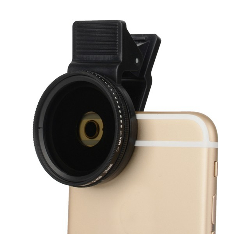 Portable Adjustable 37mm Neutral Density Clip-on ND 2-400 Phone Camera Filter Lens Universal For IPhone Android Camera Module