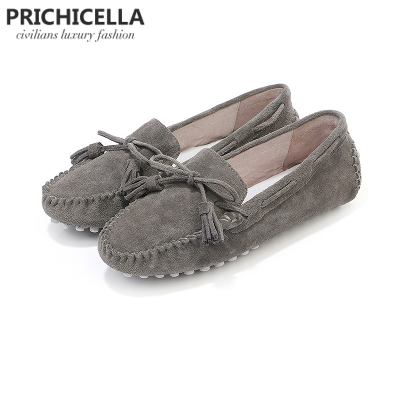 PRICHICELLA grey suede leather flats shoes comfortable loafers lazy shoesPRICHICELLA grey suede leather flats shoes comfortable loafers lazy shoes