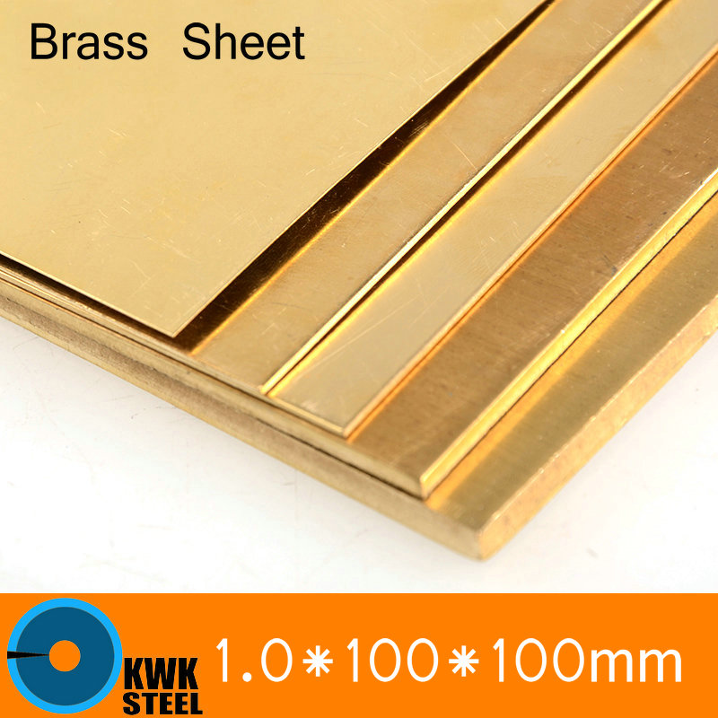 1 * 100 * 100mm Brass Sheet Plate Of CuZn40 2.036 CW509N C28000 C3712 H62 Customized Size Laser Cutting NC Free Shipping