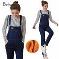 Thick Maternity Jeans for Pregnant Women Winter Warm Pregnancy Jumpsuits for Pregnant Women Plus Velvet Suspender Trousers