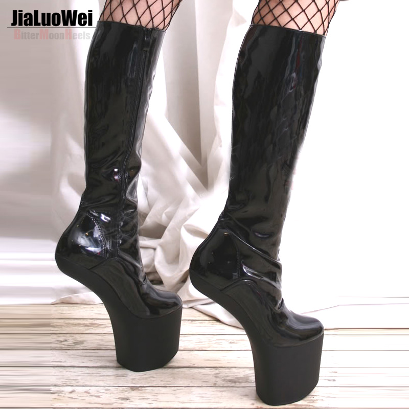 Jialuowei New Design Sexy High-Heels Shoes Knee-High Boots Fashion Women Round Toe Platform Patent Leather boots  Big size 2016 new autumn winter over the knee casual women boots plus size boots for women fashion sweet lady shoes high thigh knee