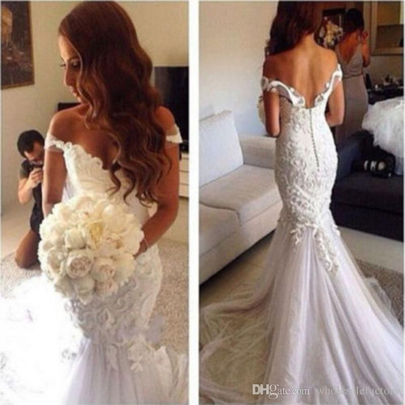 2017 Lace Mermaid Off Shoulder Appliques Vintage Wedding