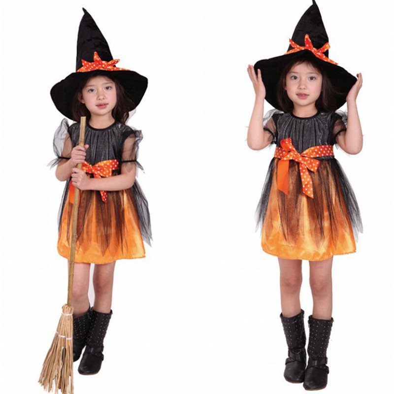 Halloween children's quality play clothes children's Christmas party stage performance clothing mesh yarn witch costume anime ma