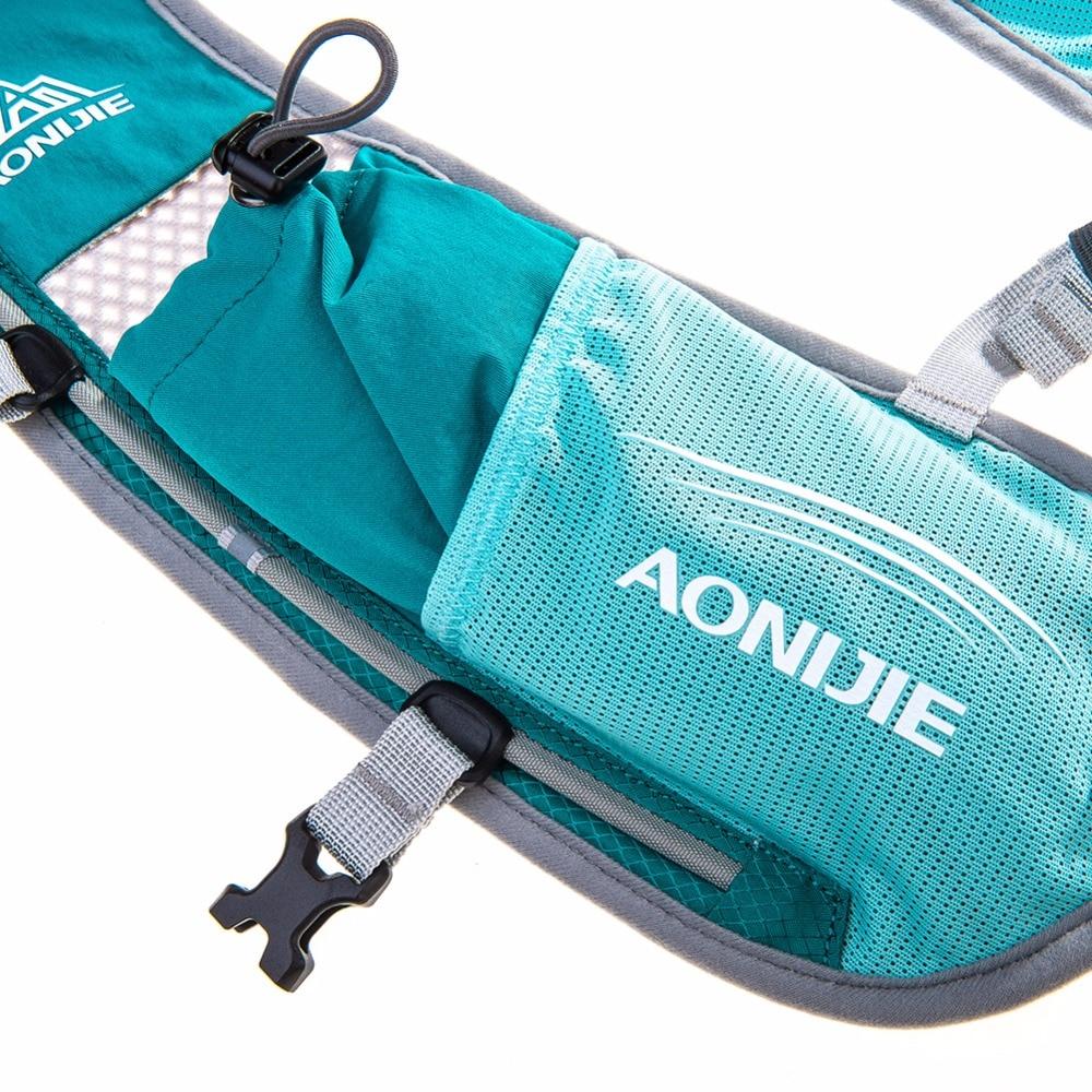 AONIJIE hombres mujeres corriendo mochila al aire libre de Deportes de pista de carreras de senderismo maratón Fitness hidratación chaleco paquete 1.5L bolsa 500 ml hervidor de agua - 6