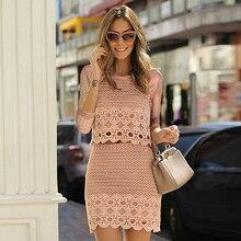 Women Fashion O-neck Lace Crochet Hollow Top + Zip Skirt 2 Pieces Set Dress New Arrival