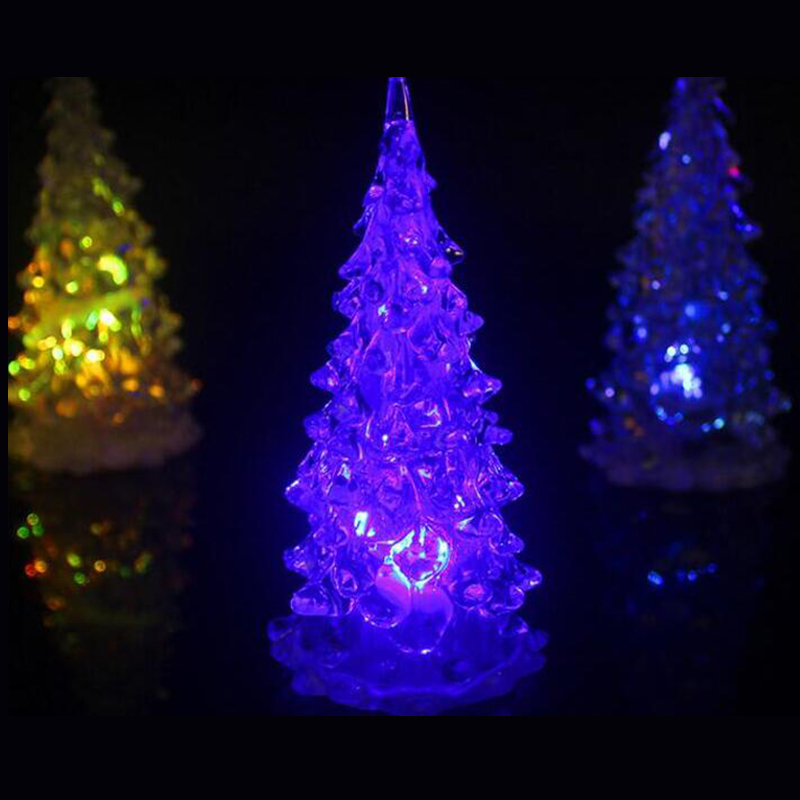 Quadruple 1PCS 7 Colors Changing LED Christmas Tree Night Light Home Decor Gift New Year Colorful Christmas Decoration Supplies