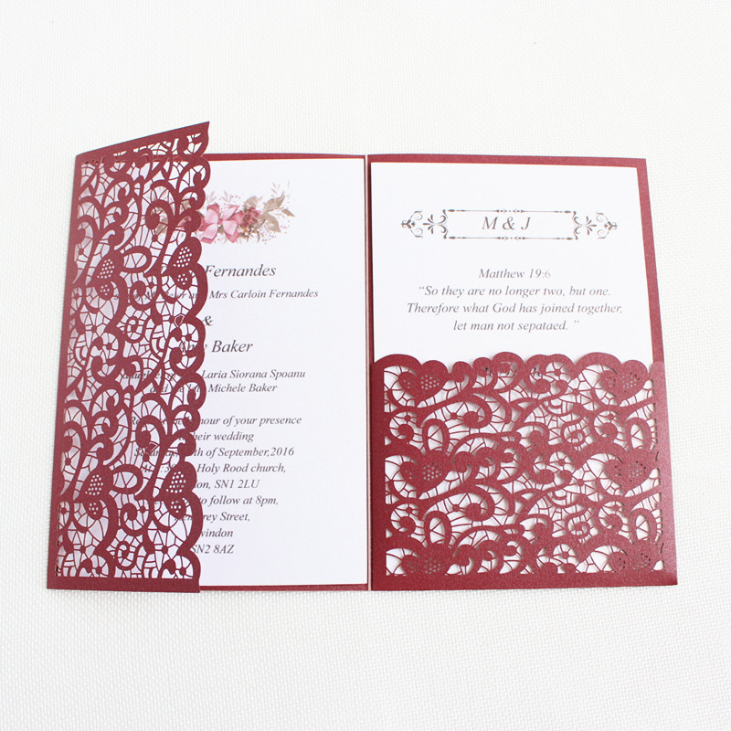 Wedding Invitations Business: Laser Cut Wedding Invitation Card Tri Fold Pocket