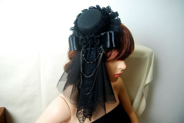 Steampunk Mini Top Hat Fascinator Veil Rose Chains Burlesque Victorian Hats Handmade Party Headdress Accessories