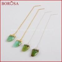 BOROSA Fashion Horn Gold Color Australia Stone Faceted Threader Earrings, New Druzy Natural Stone Dangle Earrings G1347 S1347