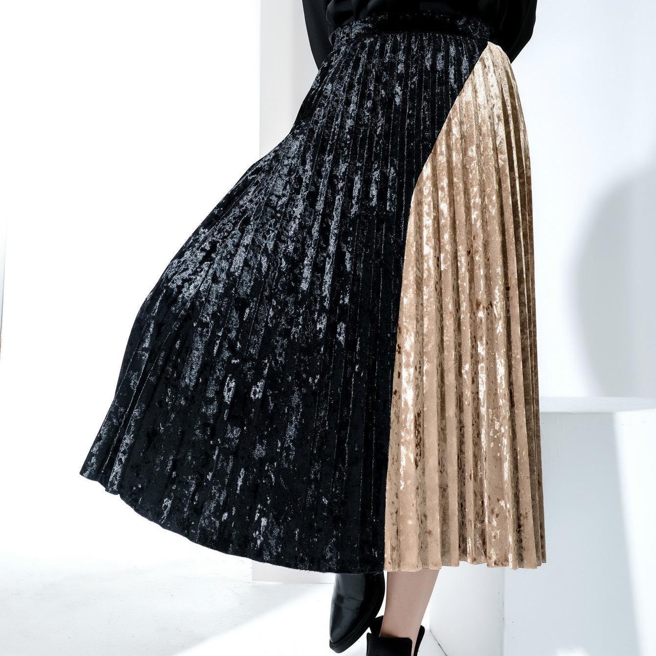 Long Skirts For Women 2018 Diamond Velvet Asymmetric color Saias Na Altura Do Joelho Falda Faldas Largas Mujer Verano