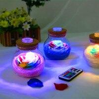 Kleurrijke Rose Zeep Bloem Wens Flacon Zeep Bloem Glazen Fles LED Licht Afstandsbediening Nachtlampje Valentijnsdag Verjaardag Gift