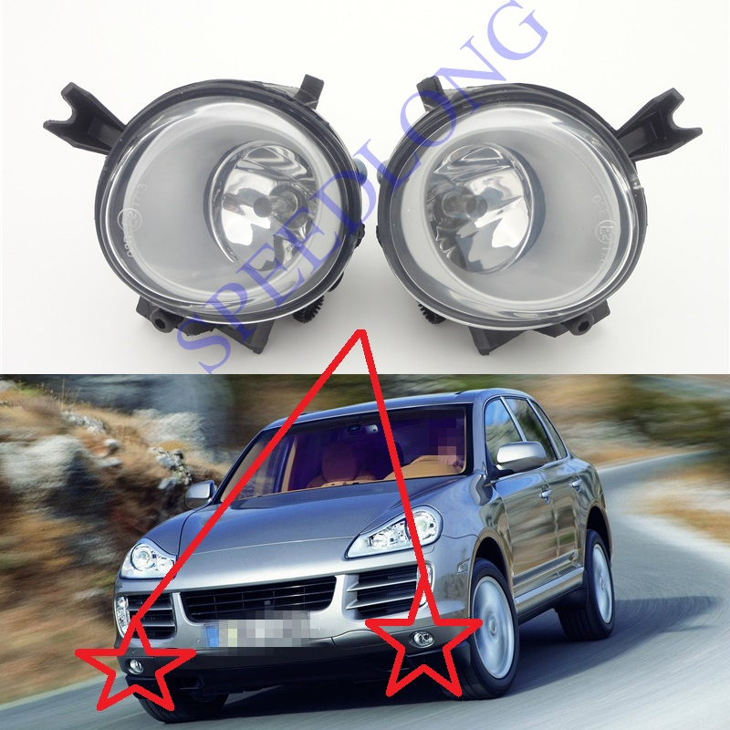 2 Pcs/Pair RH and LH front driving fog lights lamps With Bulbs for Porsche Cayenne 2008-2010