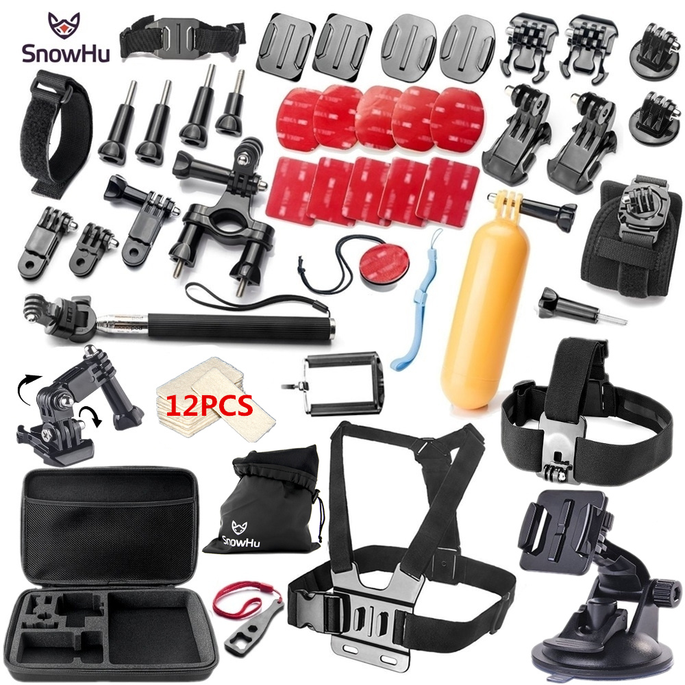 SnowHu For Gopro accessories set for go pro hero 7 6 5 4 3 kit mount for SJ5000 Eken / SOOCOO / xiaomi yi 4k camera tripod GS09