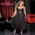 Más el Tamaño XXL Negro de Malla transparente vestido de noche bata Sexy ropa de dormir camisón largo camisón de la ropa interior de gran Tamaño W846088