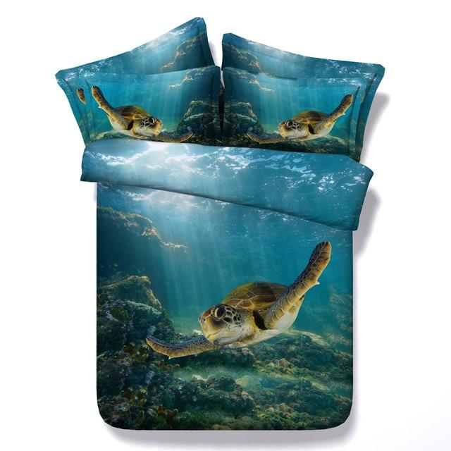 Marine Biology Sea Turtle Dolphin Pattern Duvet Cover 3