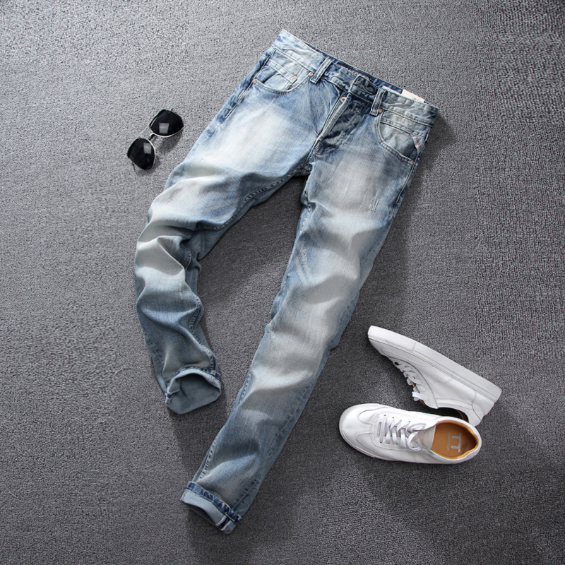 Summer Style White Wash Men Jeans High Quality Slim Fit Stripe Jeans Mens Pants Brand Light Blue Color Skinny Fit Biker Jeans large capacity waterproof oxford backpack unisex students backpack school bags for teenagers laptop backpack women travel bag