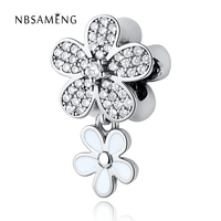 100 925 Sterling Silver Bead Poetic Blooms Crystal Cherry Blossoms Pendant Charm Fit Pandora Bracelets Bangle