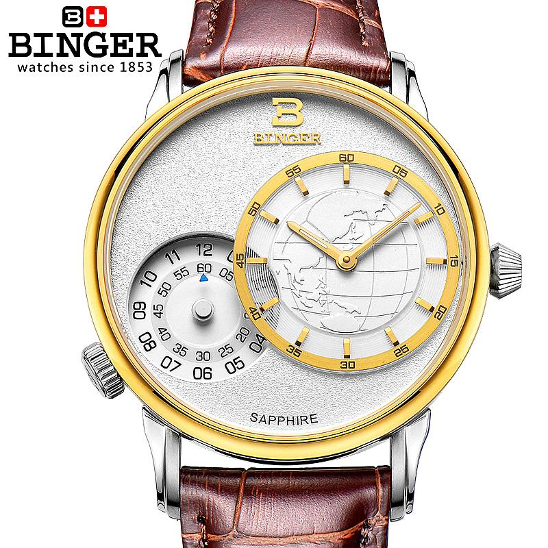 Switzerland watches men luxury brand Wristwatches BINGER 18K gold quartz leather strap waterproof BG-0389-24 switzerland watches men luxury brand wristwatches binger 18k gold quartz leather strap waterproof bg 0389 a6