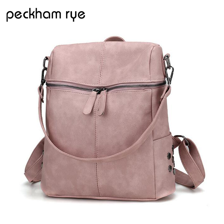 PECKHAMRYE Design PU Leather Women Backpack Casual School Bags for Teenagers Girls Female Travel Back Packs High Quality hot sale women backpacks 2017 casual female travel bags school bags for teenagers girls ladies shoulder bags backpack jan1