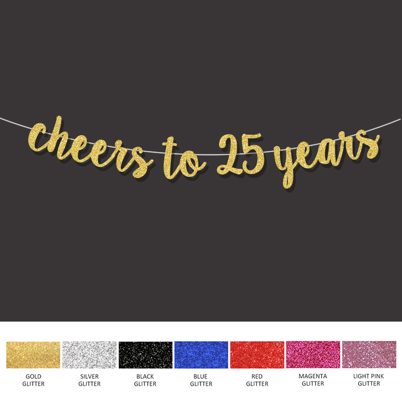 25th Birthday Party Decorations For Cheers To 25 Years Banner Happy Gold Sign Wedding Anniversary Decor Supplies