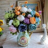 1pc European Style Core Peony 13 Large Bunch Of Flower Artificial Flower Silk Flower Decoration Festive