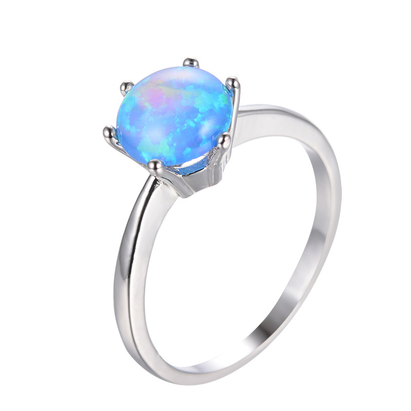 925 Sterling Silver Blue Fire Opal Rings For Women Men