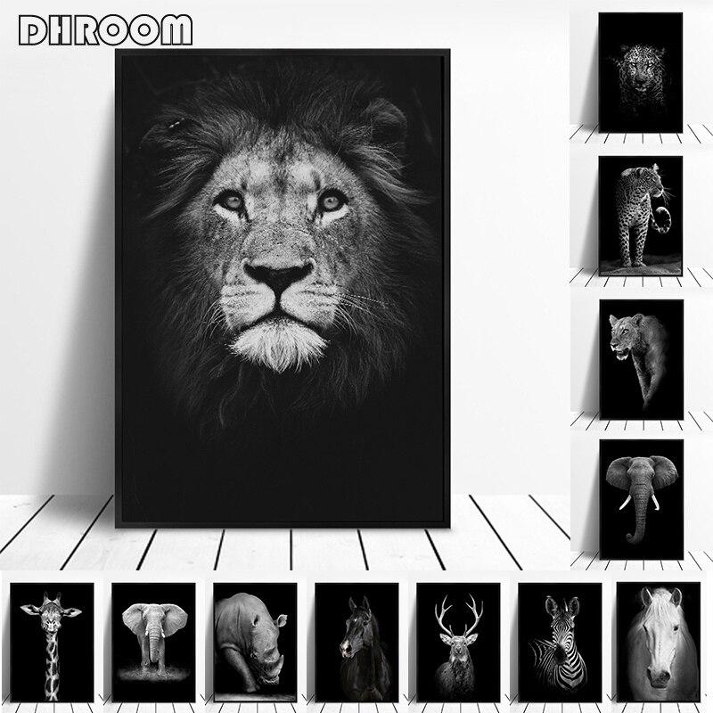 ภาพวาดผ้าใบสัตว์ Wall Art สิงโตกวางช้าง ZEBRA โปสเตอร์และพิมพ์ภาพผนังสำหรับตกแต่งห้องนั่งเล่นตกแต...