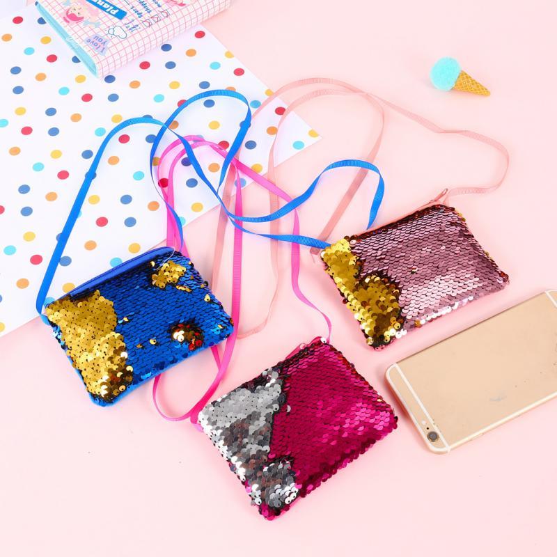 Mini Crossbody Bag Zipper Cute Mermaid Kids Handbag Sequins Clutch Bag
