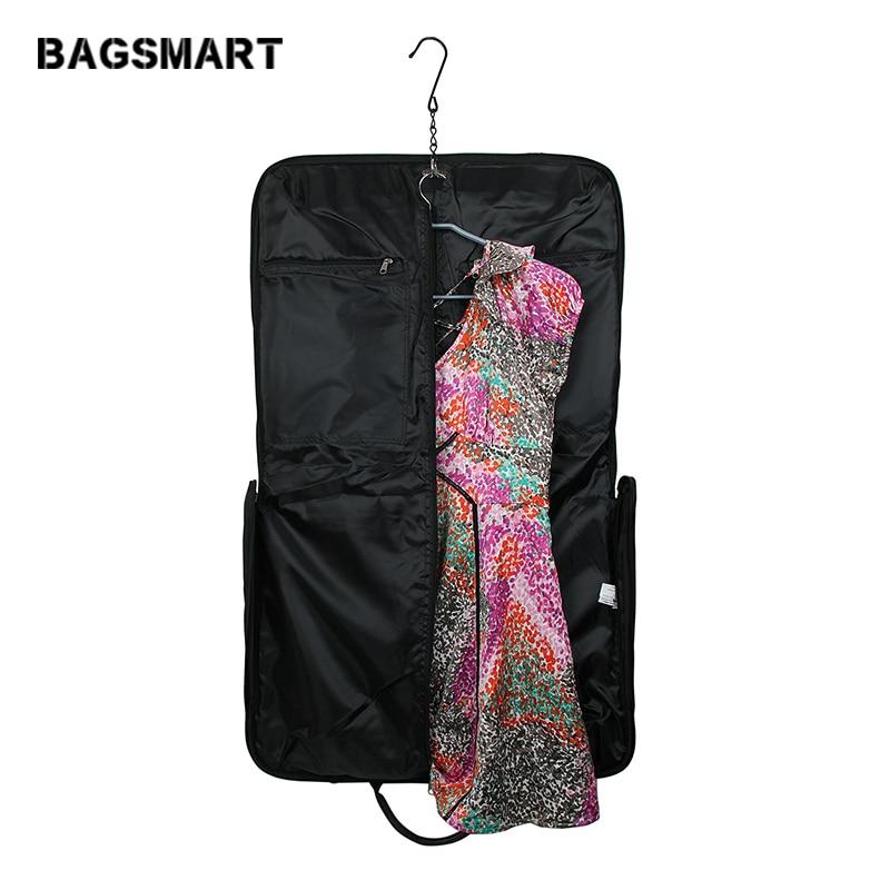 BAGSMART Black Nylon Business Dress Garment Bag With Handle Clamp Waterproof Suit Bag Men s Garment