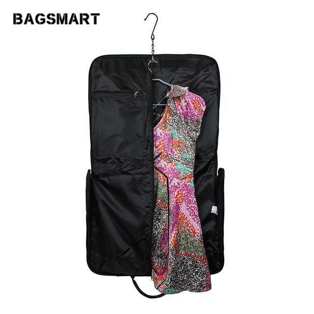 Bagsmart Black Nylon Business Dress Garment Bag With Handle Clamp Waterproof Suit Men S