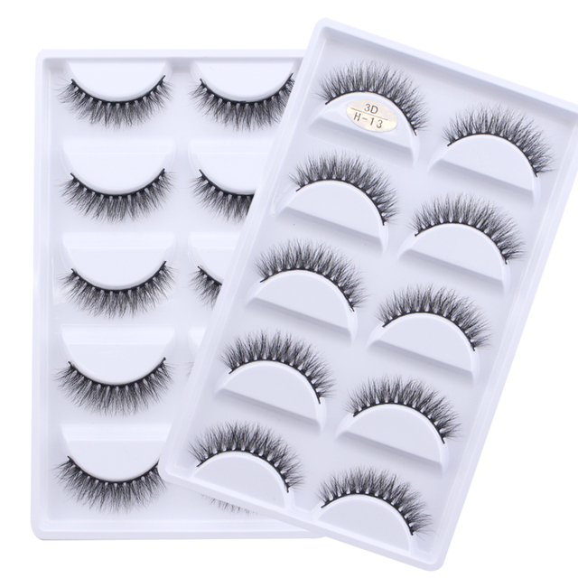 13 different styles 5 Pair 100% Real 3D Mink Lashes Soft Natural False Eyelashes Makeup Long Eye Lashes Eyelash Extension cilios