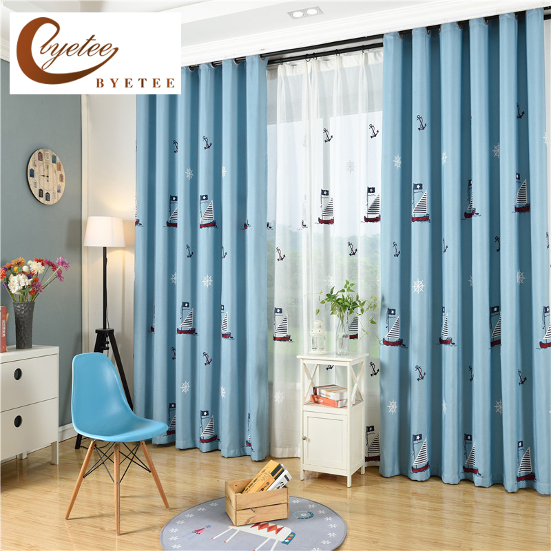 byetee children curtains for living blackout embroidered 87257