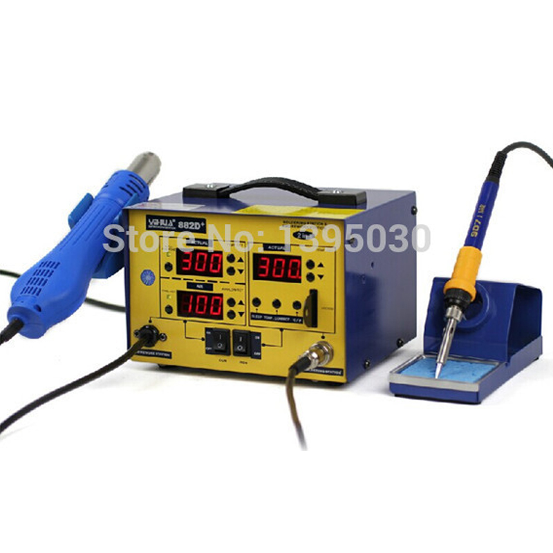 1pc YIHUA 882D+ (Brushless fan) Lead Free 2 In 1 Soldering Station / Rework Station/Soldering Iron 720W 220V yihua 882d brushless fan lead free 2 in 1 soldering station rework station 720w bu dhl