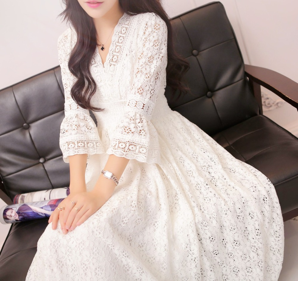 plus big size women clothing dress 2017 summer style korean Bohemian beach evening party office white lace dress women A0180 dress brokat lengan terompet