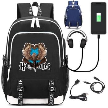 Рюкзак Гарри Поттер Эмблемы USB зарядка в подарок 1