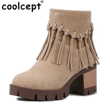 Coolcept Women Square Heels Boots Ankle Boots High Heel Fringe Boot Wome Gladiator Tassel Shoes Botas Footwear Size 34-43
